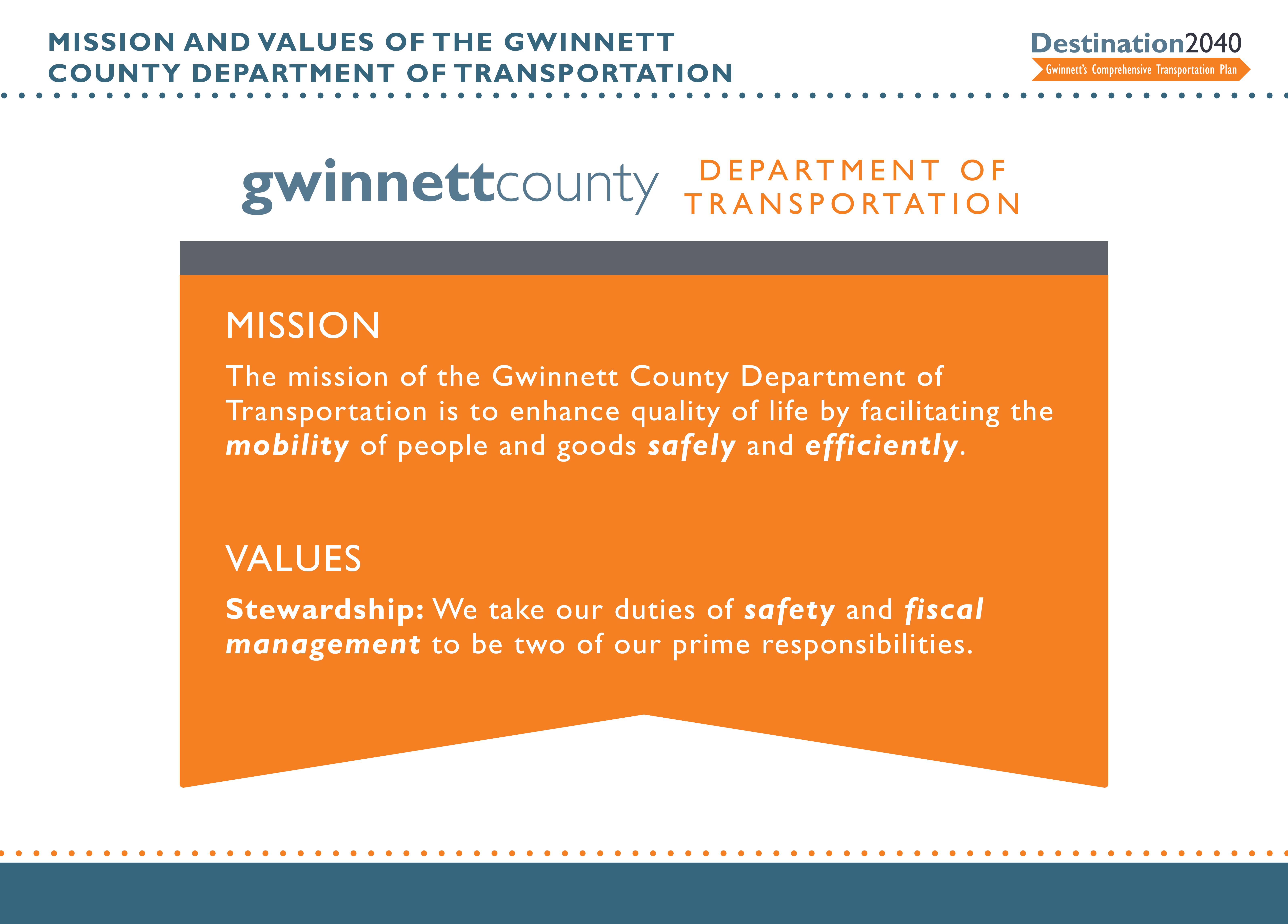 ... Gwinnett DOT Mission ...